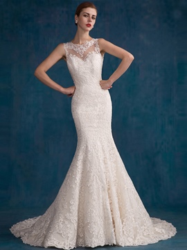 Ericdress Fancy Jewel Lace Mermaid Wedding Dress