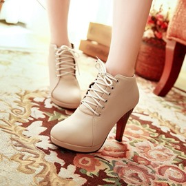 Ericdress Lace-up High Heel Boots