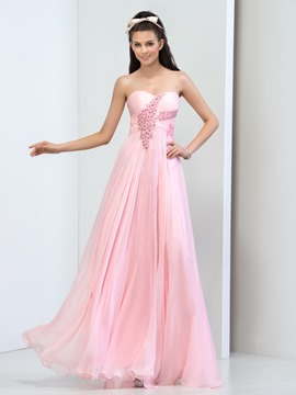Ericdress Sweetheart Beaded Pleats Long Prom Dress