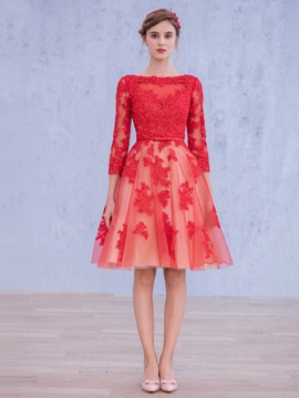 Ericdress 3/4 Long Sleeve Lace Knee-Length Cocktail Dress