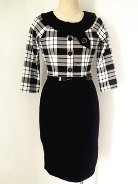 Ericdress Plaid Patchwork Single-Breasted Sheath Dress