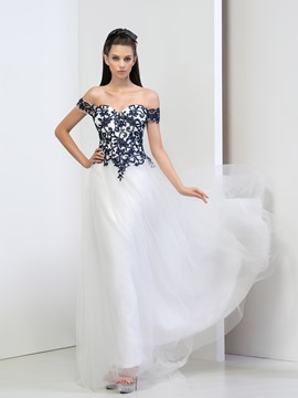 Ericdress Off-The-Shoulder A-Line Appliques Evening Dress