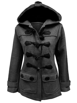 Ericdress Horn Button Hooded Coat