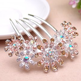 Shining Crystal Decorated Flower Hair Comb