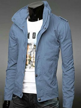 Ericdress Plain Zip High Collar Men's Jacket