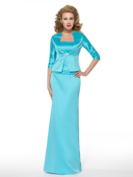 Ericdress Elegant Half Sleeves Sheath/Column Long Mother of the Bride Dress
