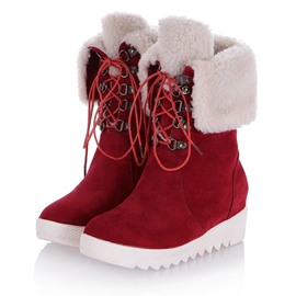 Ericdress Delicate Suede Furry Lace-up Ankle Boots