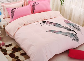 Ericdress Pink Feather Print Kids Bedding Sets