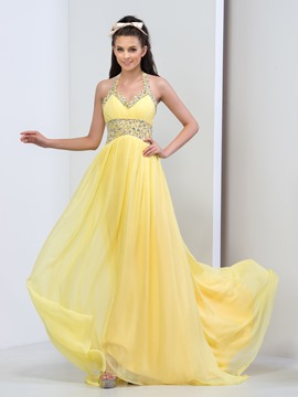 Ericdress A-Line Halter Beaded Ruffles Prom Dress