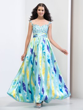 Ericdress A-Line Straps Print Beaded Evening Dress