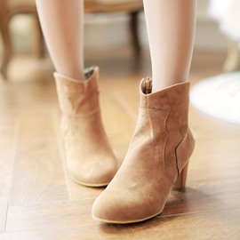 Ericdress Suede Side Zipper Ankle Boots