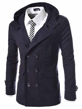 Ericdress Plain Double-Breasted Hooded Men's Jacket