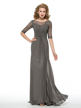 Ericdress Beautiful Bateau Half Sleeves Beading Mother of the Bride Dress
