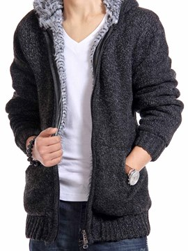 Ericdress Plain Zip Thicken Men's Sweater Coat