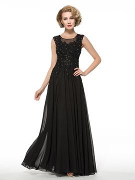 Ericdress Elegant Jewel Appliques A Line Long Mother of the Bride Dress