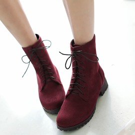 Ericdress Popular Multi-color Lace-up Ankle Boots