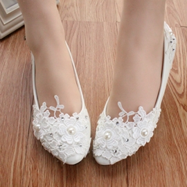 Ericdress White LaceFlower&pearl Wedding Shoes