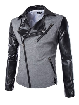Ericdress Color Block Patchwork Zip Men's Jacket