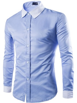 Ericdress Plain Plus Size Long Sleeve Men's Shirt