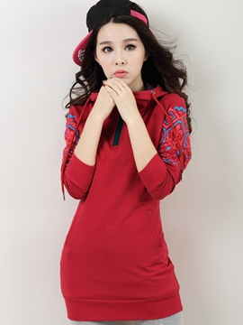 Ericdress Print Pullover Mid-Length Hoodie