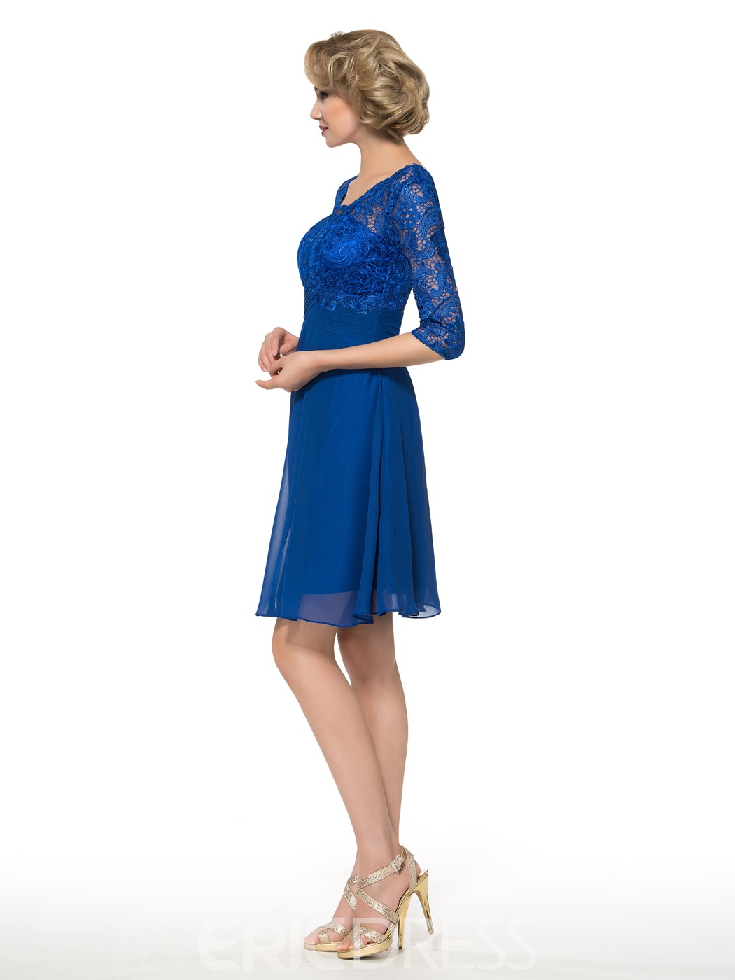 Ericdress Simple V Neck Half Sleeves Lace Short Mother of the Bride Dress