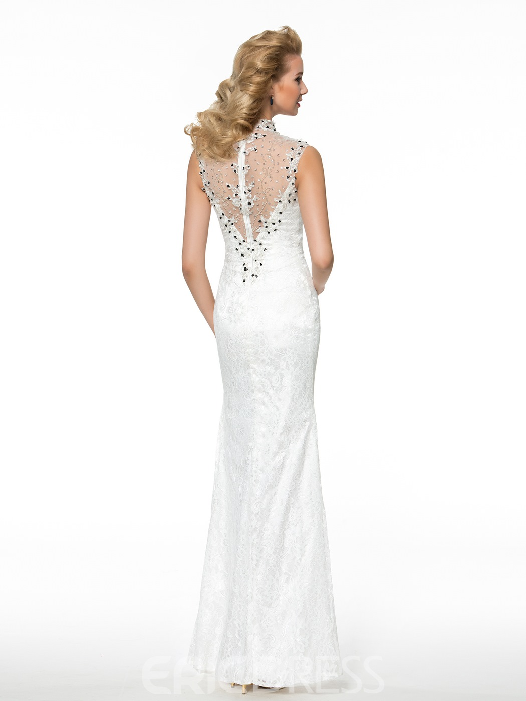 Ericdress Fancy High Neck Beading Sheath Mother of the Bride Dress