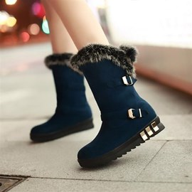 Ericdress Sweet Flat Boots with Fur&Buckles