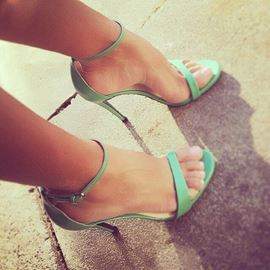 Ericdress Green Ankle Strap Stiletto Sandals