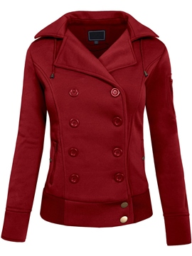 Ericdress Double-Breasted Lapel Hooded Hoodie