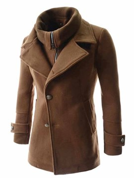 Ericdress Solid Color High Collar Zip Double-Breasted Men's Overcoat