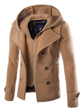 Ericdress Solid Color Double-Layer Men's Coat