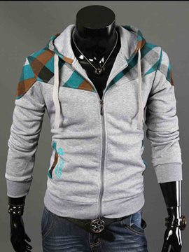 Ericdress Color Block Hooded Zip Men's Hoodie