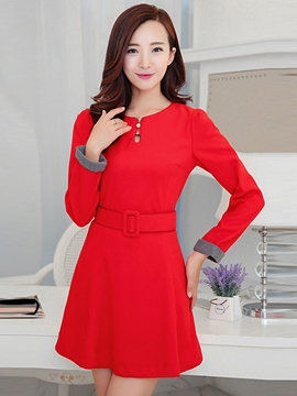 Ericdress Plain Belt Zipper Casual Dress