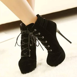 Ericdress Modern Lace up High Heel Boots