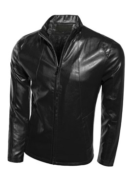 Ericdress Stand Collar Zip-Front PU Men's Jacket