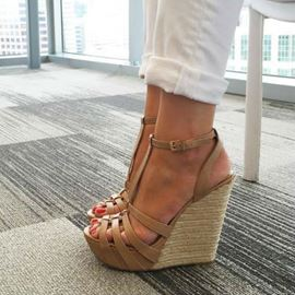 Ericdress Camel Hollow Out Wedge Sandals