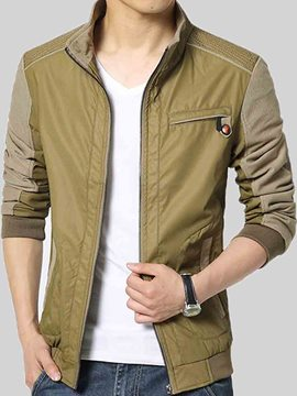 Ericdress Stand Collar Patchwork Casual Men's Jacket