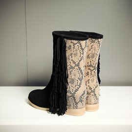 Ericdress Snake Patchwork Flat Boots with Tassels