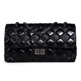 Ericdress Black Pyramid Plaid Shoulder Bag