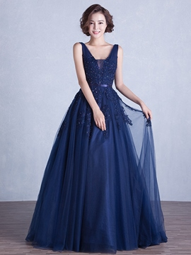Ericdress A-Line V-Neck Appliques Evening Dress