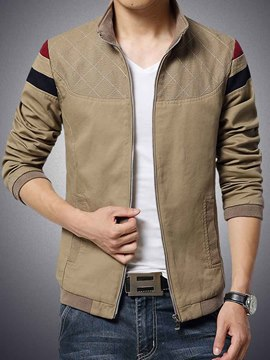 Ericdress Zip Color Block Men's Jacket