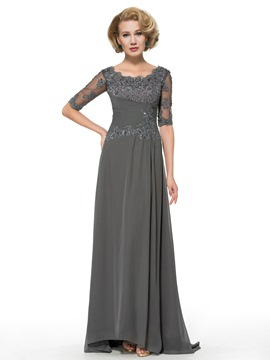 Ericdress Elegant Scoop Half Sleeves Appliques Long Mother of the Bride dress