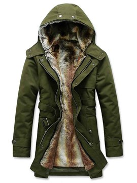 Ericdress Solid Color Thicken Flocking Warm Zip Men's Coat