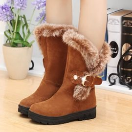 Ericdress Suede Flat Boots with Fur&Buckles