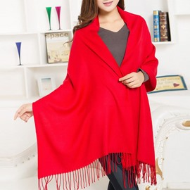 Female Plain Tassel Decorated Cashmere Scarf
