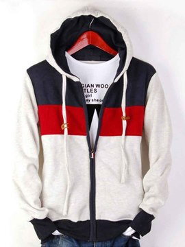 Ericdress Color Block Zip Fall Men's Hoodie