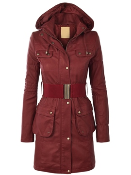 Slim Long Style Solid Color Coat