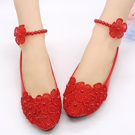 Ericdress Red Princess Ankle Strap Wedding Shoes