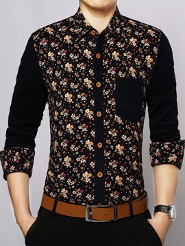 Ericdress Floral Soft Fabric Long Sleeve Men's Shirt