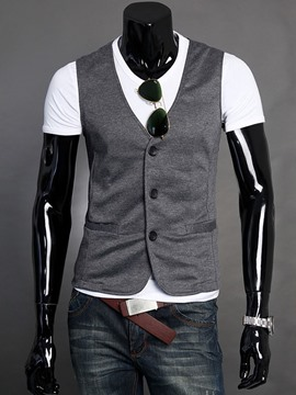Ericdress Plain Buttons Men's Vest
